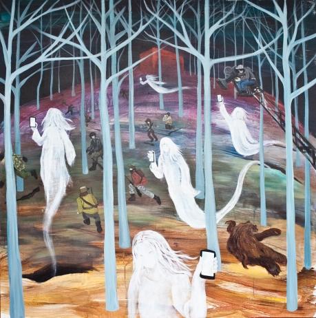 El bosque de los testigos. Acrílico sobre lienzo 140 x 140 cm 2013. Serie Reset Cinema. Imagen cedida por el artista Santiago Lara.